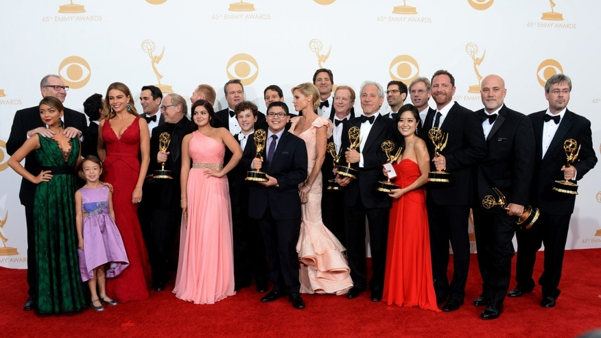 """Modern Family"" cast during the 65th Emmy Awards on September 22, 2013 in Los Angeles, California."