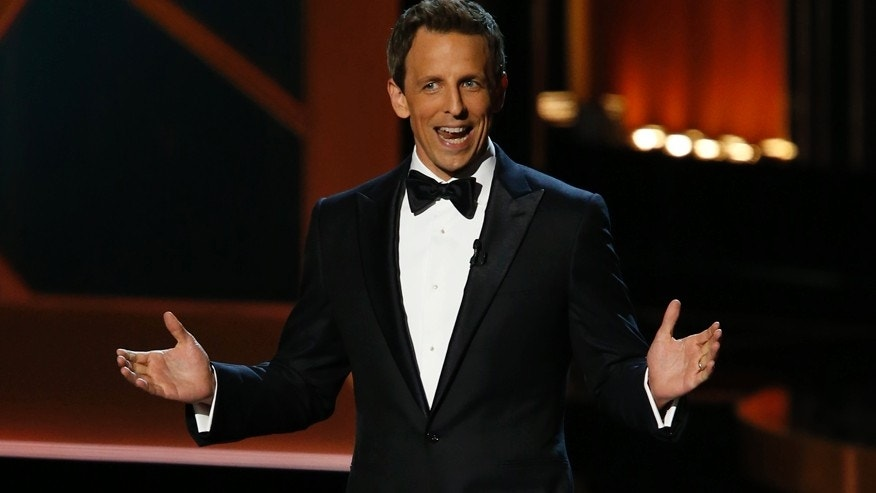 Host Seth Meyers speaks onstage during the 66th Primetime Emmy Awards in Los Angeles, California August 25, 2014.