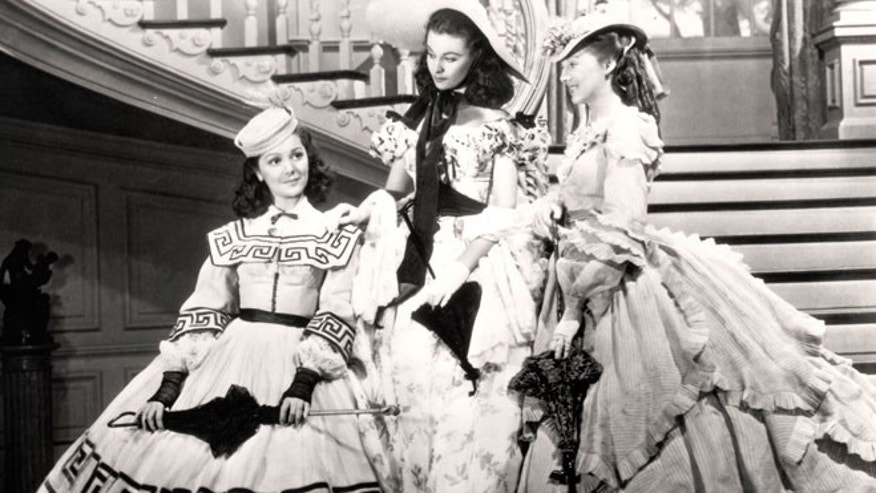 "This undated image from the film ""Gone with the Wind"" provided by New Line Cinema shows, from left, Ann Rutherford, Vivien Leigh and Evelyn Keyes."