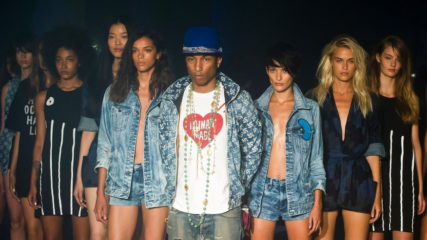 September 5, 2014. Pharrell Williams reveals the Raw for the Oceans Spring/Summer 2015 collection presented by G-Star RAW and Bionic during Fashion Week in New York.