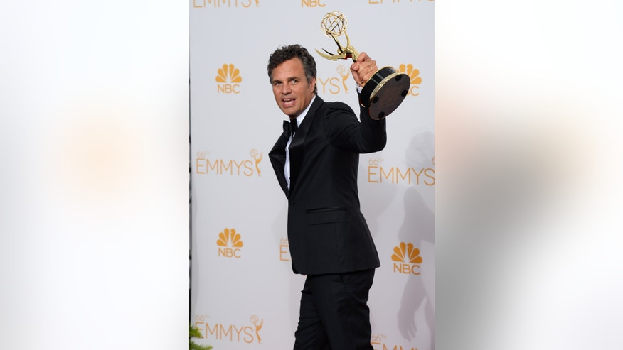 August 25, 2014. Mark Ruffalo poses in the press room at the 66th Annual Primetime Emmy Awards at the Nokia Theatre L.A.