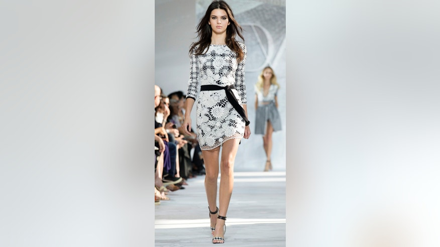 Kendall Jenner walks the runway as the Diane Von Furstenberg Spring 2015 collection is modeled during Fashion Week, Sunday, Sept. 7, 2014, in New York.