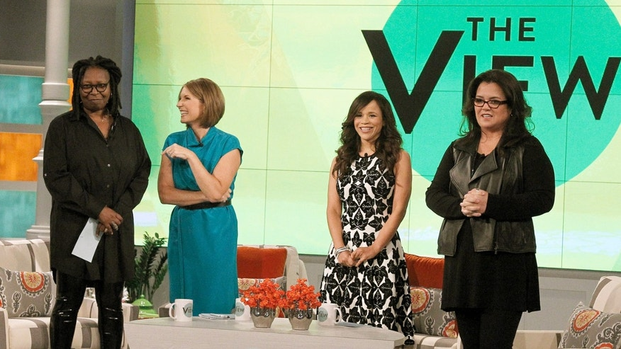 Whoopi Goldberg, Nicolle Wallace, Rosie Perez and Rosie O'Donnell on Monday, Sept. 15, 2014 in New York.