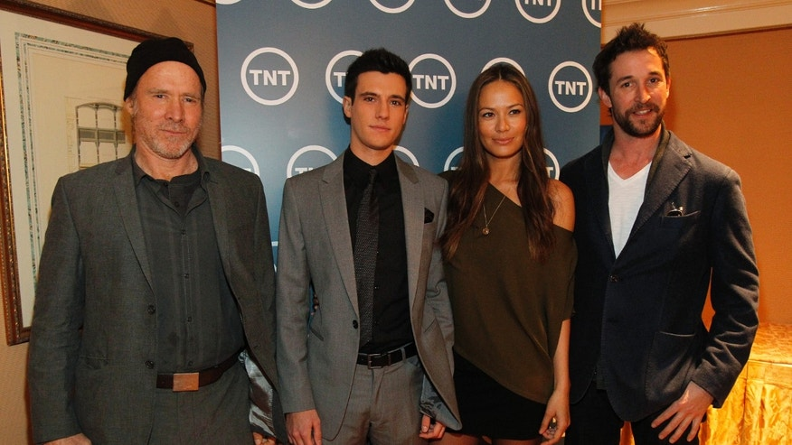 "Cast members Will Patton, Drew Roy, Moon Bloodgood and Noah Wyle from the television series ""Falling Skies"" pose during the Turner Broadcasting Television Critics Association winter press tour in Pasadena, California January 6, 2011.  REUTERS"