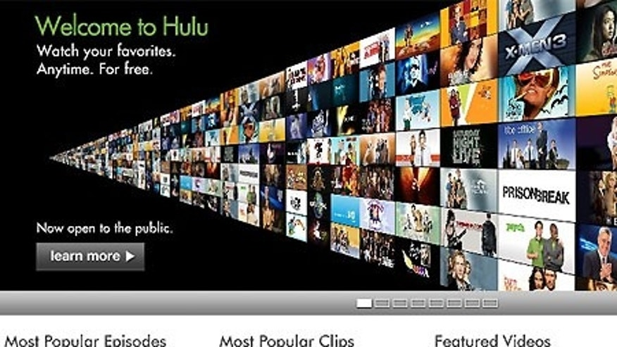 A screen grab of the Hulu.com front page.