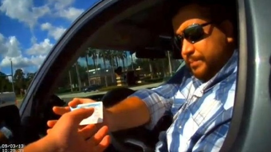 George Zimmerman pulled over in Florida.