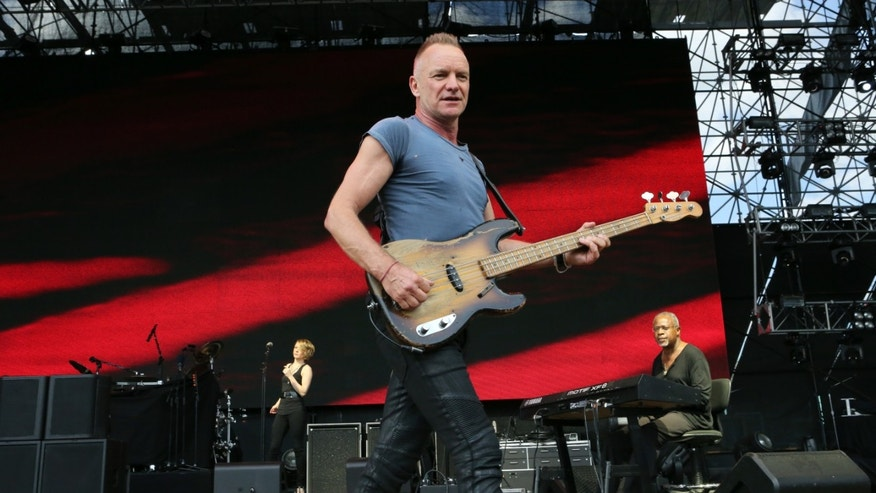 April 7, 2013. Sting performing as part of Final Four Big Dance Concerts at Centennial Olympic Park in Atlanta. Sting, Green Day, and Bill Withers are among the first-time nominees for the Rock and Roll Hall of Fame.