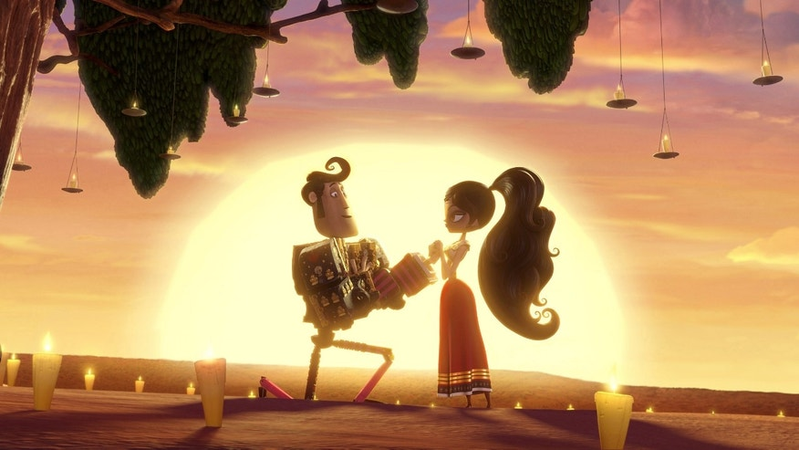 "This image released by Twentieth Century Fox  shows the character Manolo, voiced by Diego Luna, left, and Maria, voiced by Zoe Saldana in a scene from ""The Book of Life.""  (AP Photo/Twentieth Century Fox)"