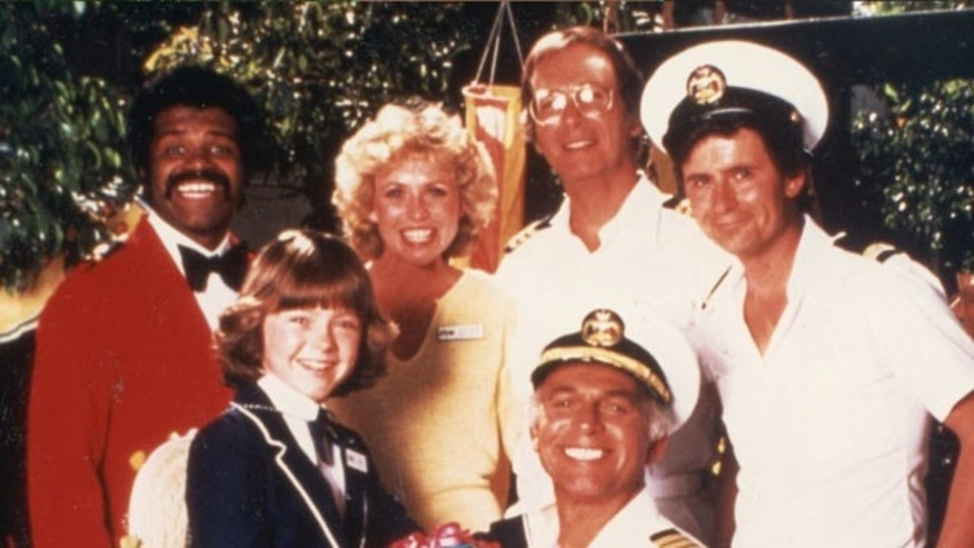 """The Love Boat"" cast. Front row from left. Ted Lange, Lauren Tewes, Bernie Kopell, Fred Grandy. Bottom row. Jill Whelan, Gavin MacLeod."