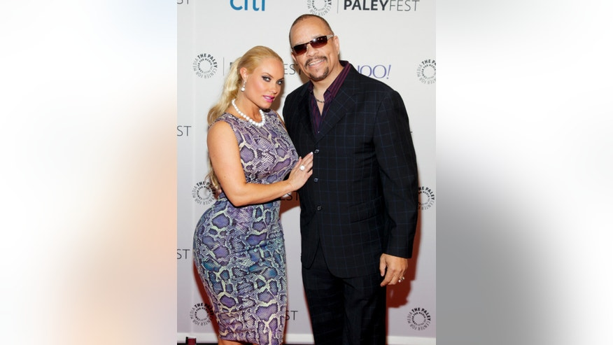 "October 13, 2014. Coco Austin, left, and Ice-T, attend the PaleyFest New York ""Law & Order: SVU"" panel discussion during The William S. Paley Television Festival at The Paley Center for Media."
