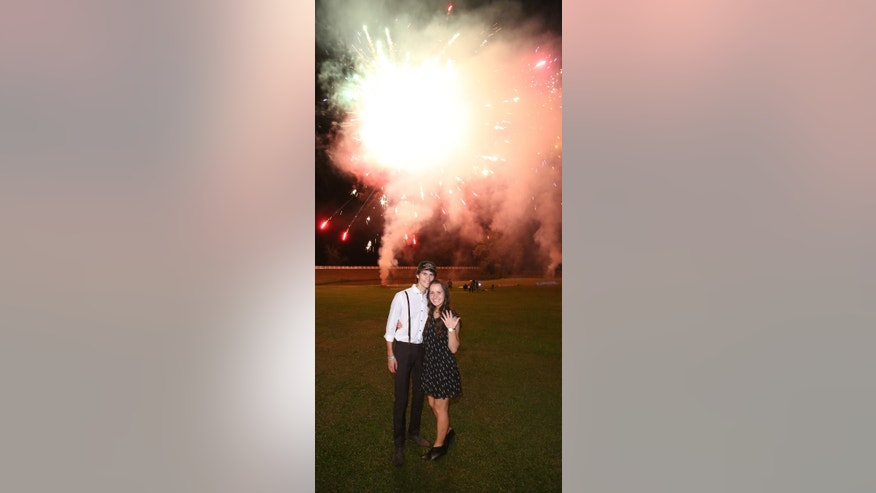 John Luke Robertson and Mary Kate McEacharn after the proposal.