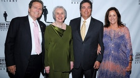 (L-R) Patrick Wayne (JWCI Chairman and son of John Wayne), honoree Marilou Terpenning, honoree Dan Hay, Auxiliary President Anita Swift (granddaughter of John Wayne).