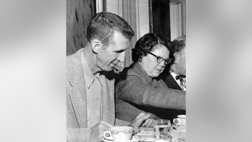 "FILE - This 1972 photo shows David ""Stringbean"" Akeman and his wife, Estelle. The killer of the Grand Ole Opry and Hee Haw comic Akeman and his wife Estelle was granted parole Wednesday, Oct. 15, 2014, after 40 years in prison. John A. Brown, 64, was originally sentenced to 198 years, and the board has denied several previous parole requests.  (AP Photo/file)"