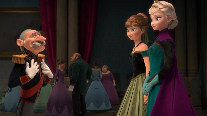 "This image released by Disney shows, from left, Duke Weselton, voiced by Alan Tudyk, Anna, voiced by Kristen Bell, and Elsa the Snow Queen, voiced by Idina Menzel, in a scene from the animated feature ""Frozen."" (AP Photo/Disney)"