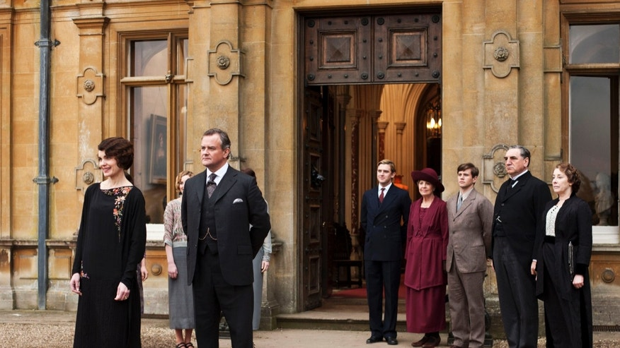 "Elizabeth McGovern as Lady Grantham, Hugh Bonneville as Lord Grantham, Dan Stevens as Matthew Crawley, Penelope Wilton as Isobel Crawley, Allen Leech as Tom Branson, Jim Carter as Mr. Carson, and Phyllis Logan as Mrs. Hughes, from the TV series, ""Downton Abbey."""