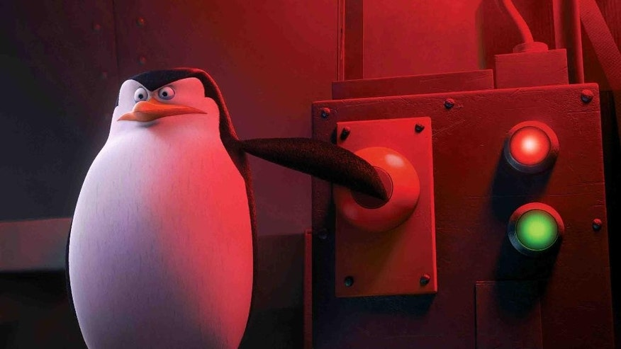 "This image released by DreamWorks Animation shows Private, voiced by Christopher Knights in a scene from, ""The Penguins of Madagascar."" (AP Photo/DreamWorks Animation)"