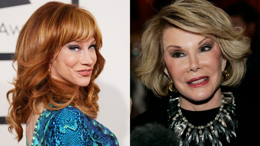 Comedian Kathy Griffin (l) and the late Joan Rivers.