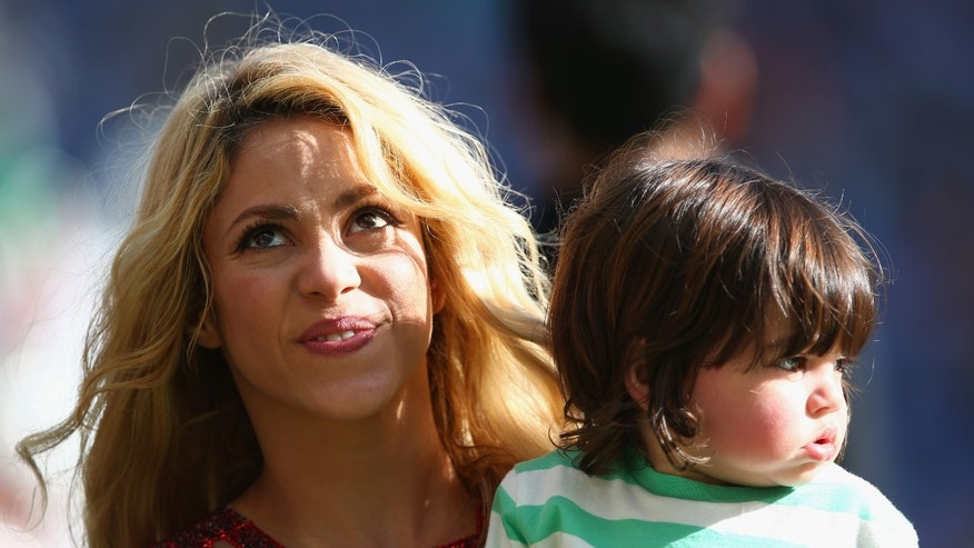 Shakira and son Milan during the closing ceremony prior to the 2014 FIFA World Cup Brazil Final on July 13, 2014.