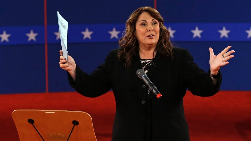 Oct. 16, 2012. Candy Crowley talks to the audience before the second presidential debate at Hofstra University, in Hempstead, N.Y.