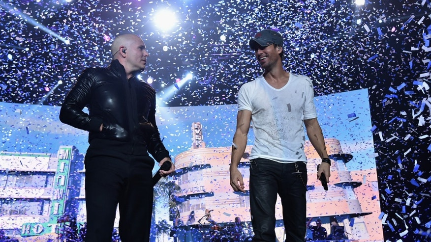 Enrique Iglesias and Pitbull on September 12, 2014 in Newark, New Jersey.