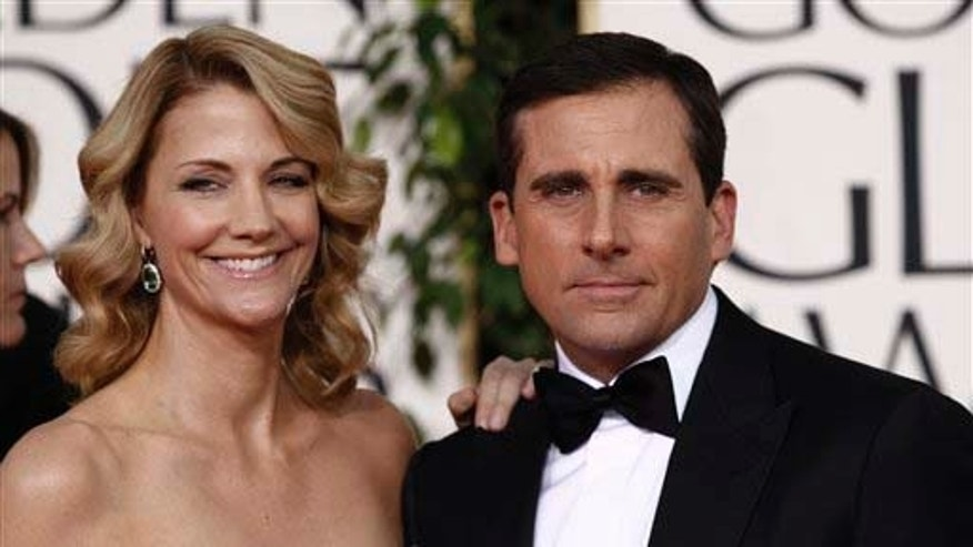 Steve Carell arrives with his wife Nancy Carell for the Golden Globe Awards Sunday, Jan. 16, 2011, in Beverly Hills, Calif. (AP Photo/Matt Sayles)