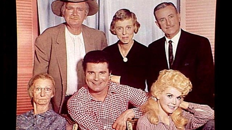 """The Beverly Hillbillies"" cast (l-r): Irene Ryan, Buddy Ebsen, Max Baer, Nancy Kulp, Raymond Bailey and Donna Douglas"
