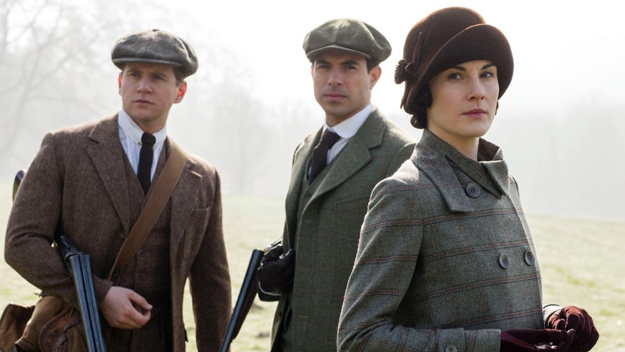 "From left, Allen Leech as Tom Branson, Tom Cullen as Lord Gillingham, and Michelle Dockery as Lady Mary, in a scene from season 5 of ""Downton Abbey."""