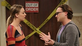 "Kaley Cuoco-Sweeting and Johnny Galecki on ""The Big Bang Theory."""