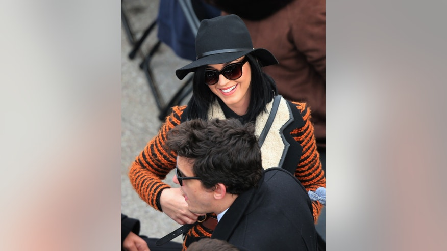 January 21, 2013. Katy Perry and John Mayer arrive for inauguration ceremonies in Washington.