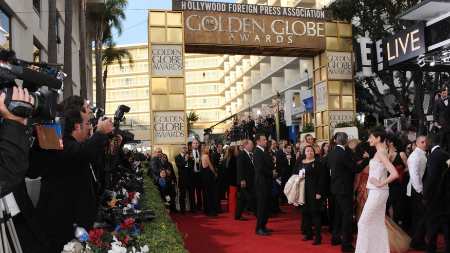 Jan. 13, 2013. Anne Hathaway arrives at the 70th Annual Golden Globe Awards at the Beverly Hilton Hotel, in Beverly Hills, Calif.