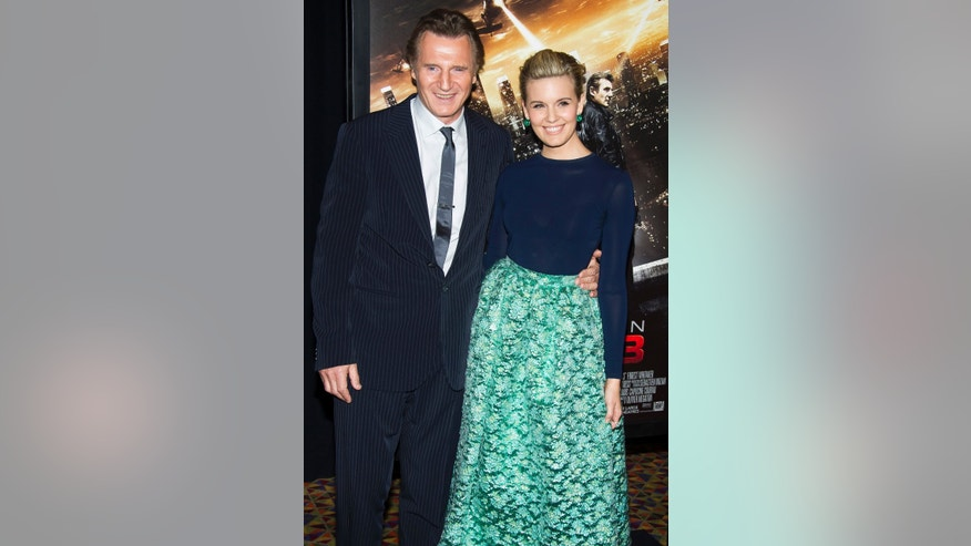"Jan 7, 2015. Liam Neeson, left, and Maggie Grace attend a ""Taken 3"" screening in New York."
