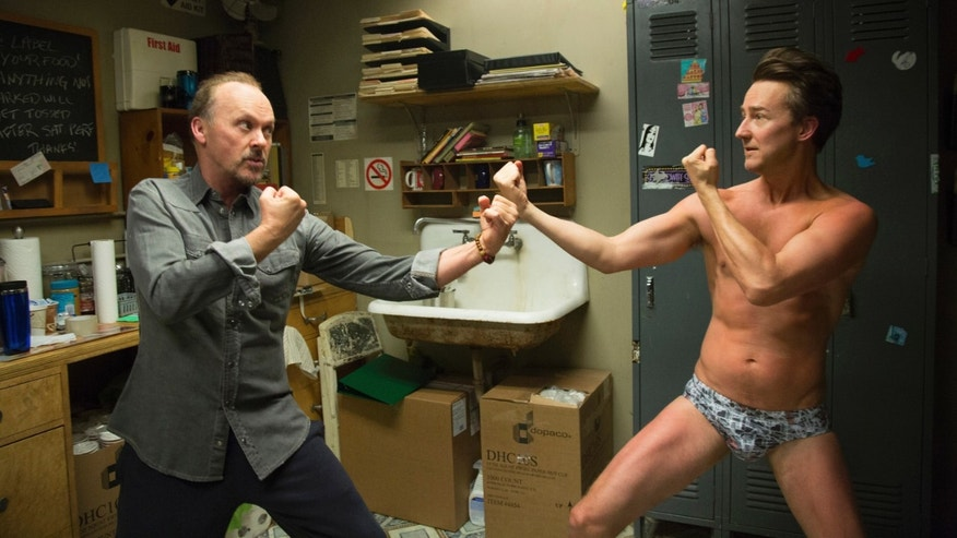 "Michael Keaton and Edward Norton in a scene from ""Birdman."""