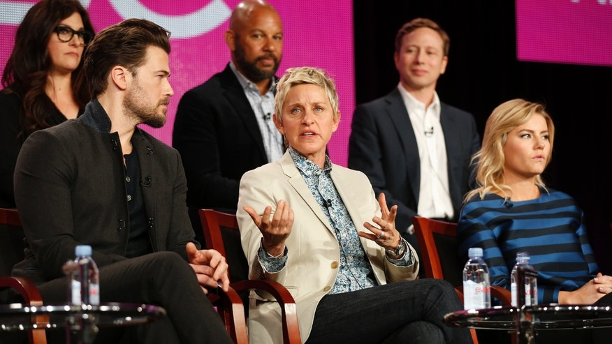 "January 16, 2015. Actors Elisha Cuthbert (R) and Nick Zano (L) and executive producer Ellen DeGeneres speak about the NBC television show ""One Big Happy"" during the TCA presentations in Pasadena, California."