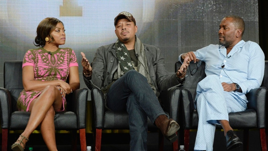 "Cast members Taraji P. Henson (L), Terrence Howard, and director Lee Daniels from the television series ""Empire"" take part in Fox Broadcasting Company's part of the Television Critics Association (TCA) Winter 2015 presentations in Pasadena, California, January 17, 2015.  REUTERS/Kevork Djansezian  (UNITED STATES - Tags: ENTERTAINMENT) - RTR4LU6Z"