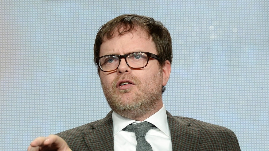 "Cast member and producer Rainn Wilson gestures during the panel for Fox's ""Backstrom"" at the Television Critics Association (TCA) Winter 2015 presentations in Pasadena, California January 17, 2015. REUTERS/Kevork Djansezian (UNITED STATES - Tags: ENTERTAINMENT) - RTR4LTVS"