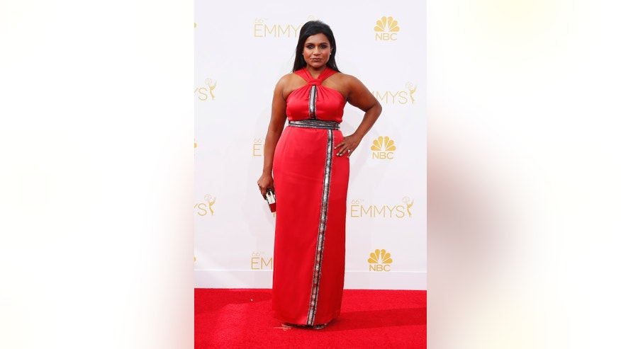 August 25, 2014. Mindy Kaling arrives at the 66th Primetime Emmy Awards in Los Angeles, California.