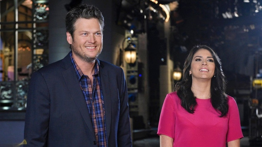 "Jan 20, 2015.  Blake Shelton and Cecily Strong on ""SNL."""