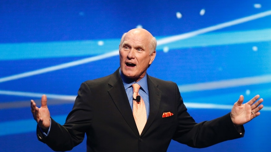"March 5, 2013. Former NFL football great and broadcaster Terry Bradshaw speaks during a presentation to announce Fox's new sports network ""Fox Sports 1"" in New York."