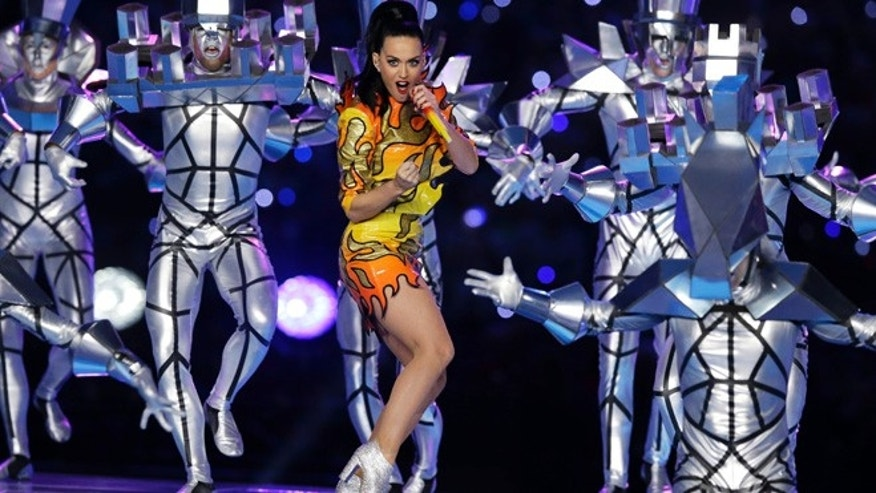 Feb. 1, 2015: Singer Katy Perry performs during halftime of NFL Super Bowl XLIX football game between the Seattle Seahawks and the New England Patriots in Glendale, Ariz.