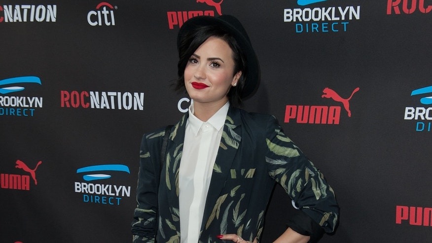 Demi Lovato at the Roc Nation Pre-GRAMMY Brunch on February 7, 2015 in Beverly Hills, California.