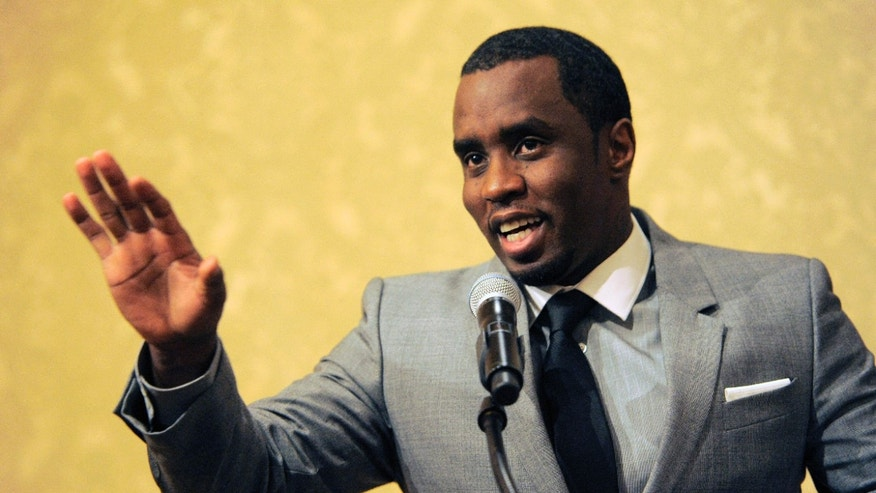 "July 26, 2013. Sean ""Diddy"" Combs of the new network Revolt TV addresses reporters at the Beverly Hilton Hotel in Beverly Hills, Calif."