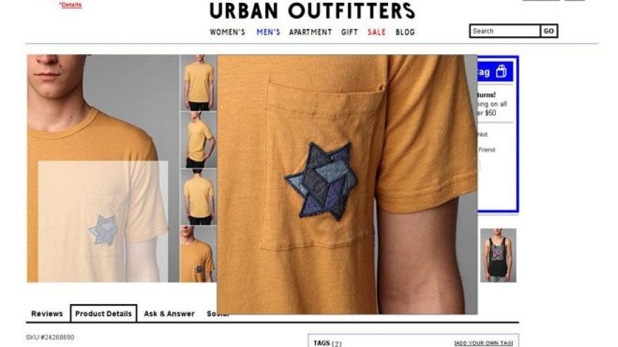 A screenshot of Urban Outfitters online catalog in 2012 shows a t-shirt that the Anti-Defamation League says is offensive for featuring perceived Holocaust imagery.