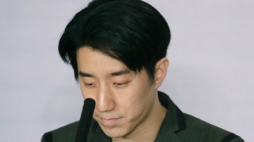 Feb 14. 2015. Hong Kong actor Jaycee Chan pauses during a news conference at a hotel in Beijing.