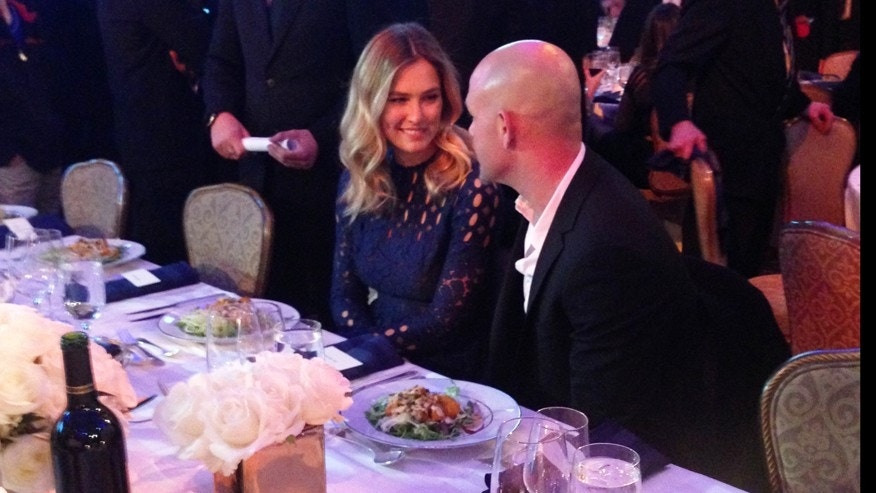Bar Refaeli, left, attends the Times of Israel Gala in New York City with Adi Ezra.