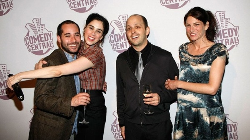 From left: 'The Sarah Silverman Program' writer Harris Wittels with comedian Sarah Silverman, Dan Sterling and actress Laura Silverman, at Comedy Central's Emmy Awards party in Los Angeles, September 21, 2008.