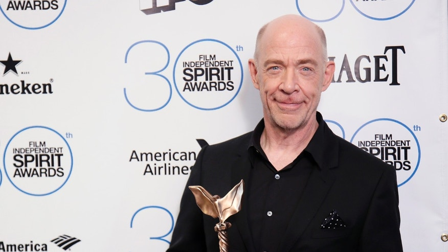 "Feb 21, 2015. J.K. Simmons poses backstage with his Best Supporting Male award for his role in the film ""Whiplash"" during the 2015 Film Independent Spirit Awards in Santa Monica."