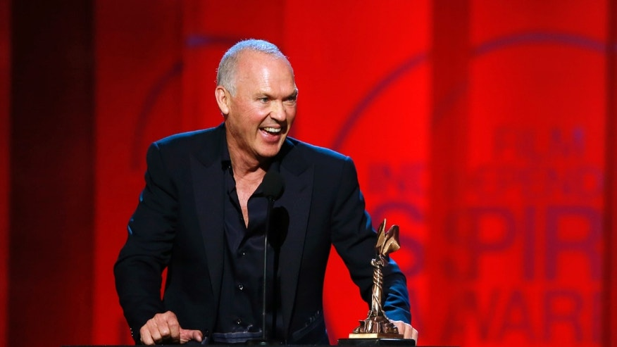 "Feb 21, 2015. Actor Michael Keaton accepts the award for Best Male Lead for his role in ""Birdman"" at the 2015 Film Independent Spirit Awards in Santa Monica, California."