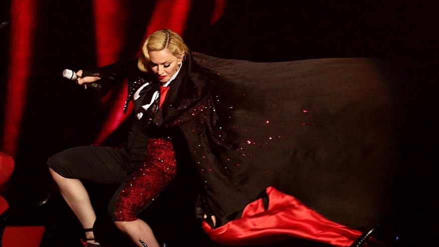 Feb. 25, 2015. Madonna stumbling during a performance at the Brit Awards 2015 in London.