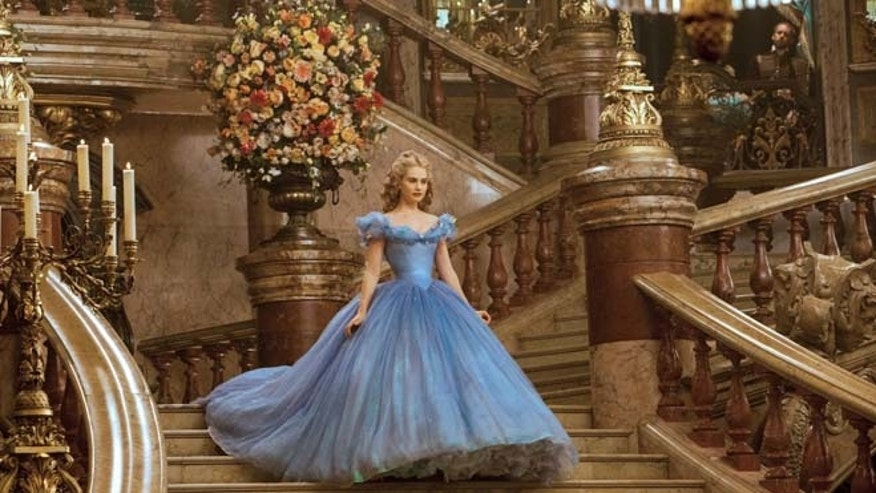 "This image released by Disney shows Lily James as Cinderella in Disney's live-action feature film inspired by the classic fairy tale, ""Cinderella."" (AP/Disney, Jonathan Olley)"