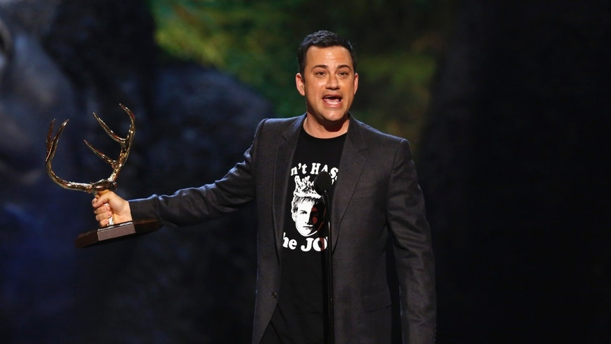 "June 8, 2013.  Jimmy Kimmel accepts an award at the seventh annual Spike TV ""Guys Choice"" awards in Culver City, California."